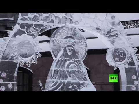 لايف ستايلالنحت على الجليد يخطف الأضواء في روسيا