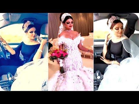 لايف ستايلشاهد عارضة أزياء تسوّق سيارتها بفستان الزفاف