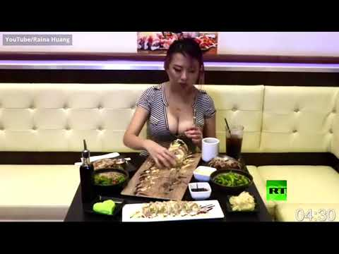 شاهد فتاة آسيوية مُقيمة في أميركا تأكل أكثر من 36 كيلوغرام سوشي