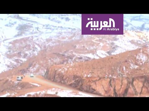 شاهد: سكان تبوك وضواحيها يتجهون إلى جبل اللوز المغطى بالثلوج