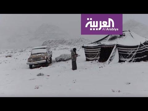 شاهد: الصور التي التقطها سعوديون للثلوج التي غطت المناطق الشمالية