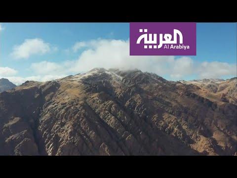 شاهد جبل اللوز عنوان عشاق الثلوج في السعودية