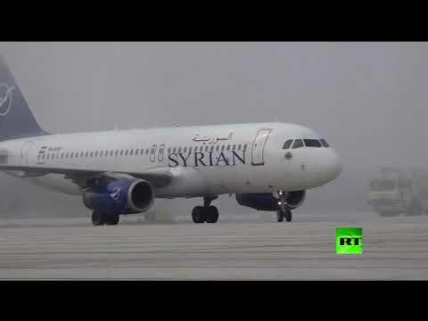 شاهدإستقبال حافل لأول أول طائرة ركاب تصل حلب